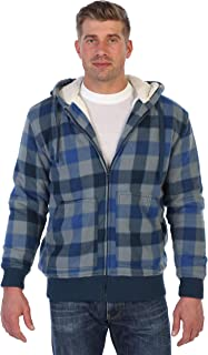 Mens Checkered Flannel Hoodie Jacket with Sherpa Lining