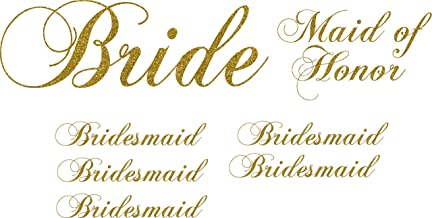 Pack of 7 Vinyl Wedding Iron on Transfer (1 Bride) (1 Maid of Honor) (5 Bridesmaid) (Glitter Gold)