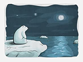 Ambesonne Winter Bath Mat, Cartoon Style Hand Drawn Polar Bear in The Arctic Staring at The Moon Image Print, Plush Bathroom Decor Mat with Non Slip Backing, 29.5