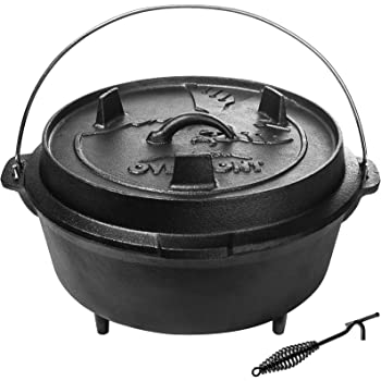 Overmont Camp Dutch Oven 14x14x8.3in All-round Cast Iron Casserole Pot Dual Function Lid Skillet Pre Seasoned with Lid Lifter Handle for Camping Cooking BBQ Baking