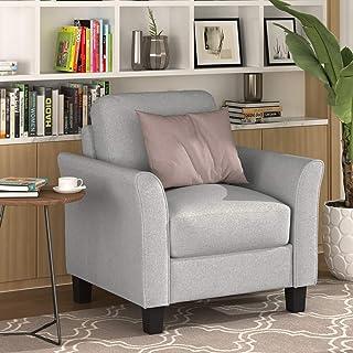 Living Room Furniture Set Polyester-Blend Upholstered Sofa (Single Chair, Light Grey)
