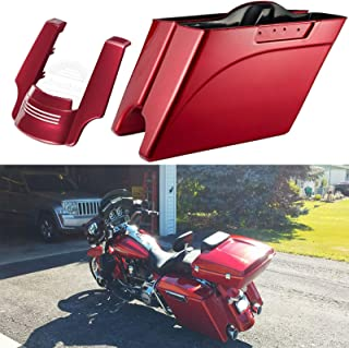 Advanblack Ember Red Sunglo 4 1/2 inch Extended Bags Stretched Fender Extension Hard Saddlebags Fit for Harley Touring Road King Street Glide Electra Glide Ultra Classic 2009-2013
