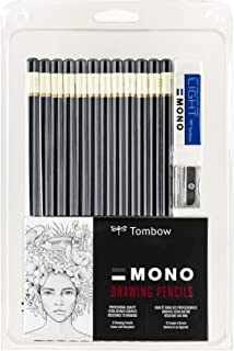 Tombow 51523 MONO Drawing Pencil Set, Assorted Degrees, 12-Pack. Professional Quality Graphite Pencil Set with Eraser and ...