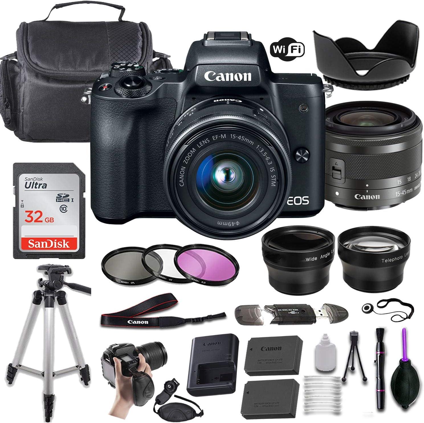 Canon EOS Max 69% OFF M50 Mirrorless Digital Camera w Spasm price 15-45mm f Black EF-M