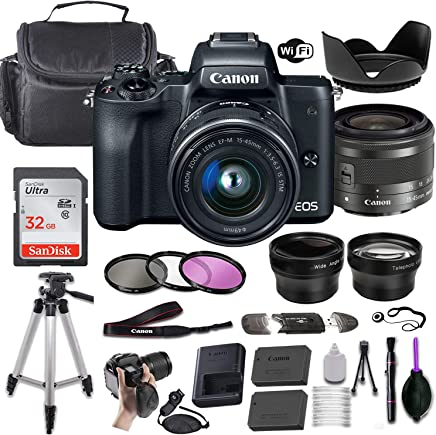 $659 Get Canon EOS M50 Mirrorless Digital Camera (Black) w/EF-M 15-45mm f/3.5-6.3 is STM + Wide-Angle and Telephoto Lenses + Portable Tripod + Memory Card + Deluxe Accessory Bundle