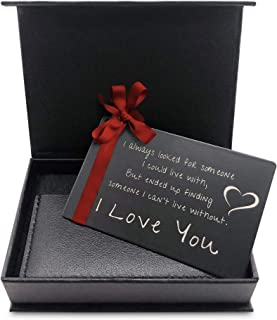 """MANA'O Metal Wallet Card LOVE Note For HIM """"Someone to Love"""" Engraved Wallet Insert Anniversary Gifts for Men, Husband or ..."""