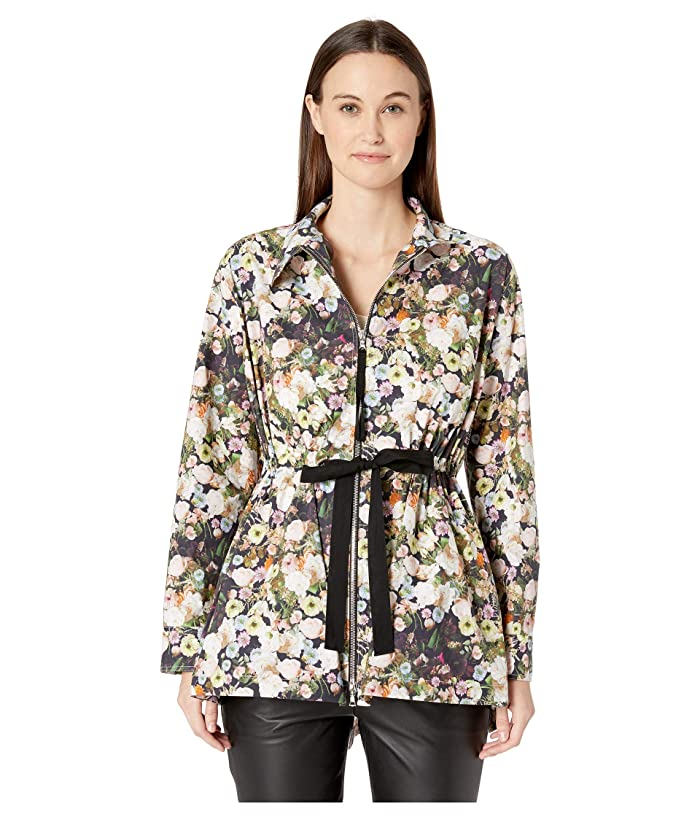 Adam Lippes Printed Poplin Anorak w/ Side Ties (Black Floral) Women's Coat