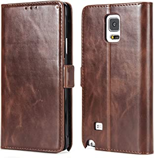 Galaxy Note 4 Wallet Case,Phone Case for Galaxy Note 4,CSTM Premium Vegan Leather Folio Flip Protective Shell Cover with Kickstand,Credit Slots and Magnetic Closure for Samsung Galaxy Note 4 (Coffee)