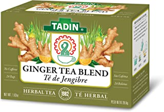 Tadin Herb & Tea Co. Ginger Herbal Tea Blend, Caffeine Free, 24 Count (Pack of 6)