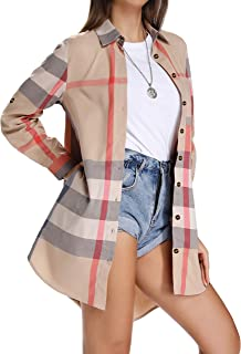 Women's Plaid Button Down Shirts Roll-up Sleeve Blouses Loose Fit Tops with Pocket