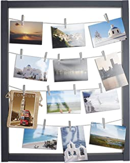 Reimagine Hanging Photo Display- Wood Wall Picture Frame Collage Board for Hanging Prints, Instax, Holiday Cards, Artwork- Display 2 Ways- Adjustable String, Chevron Clothespin Clips- Gunmetal Grey