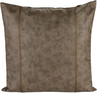 Snugtown Thick Faux Leather Pillow Cover Tan Decorative for Couch Throw Pillow Case Brown Leather Cushion Cover Leather Pillow 18x18 Inches (Taupe with Embroidery)