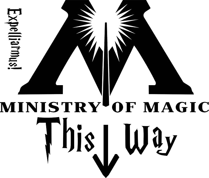 Premium Quality Black Vinyl DD084 Ministry Of Magic This Way Harry Potter Inspired Decal Sticker 7.5-Inches By 6.4-Inches