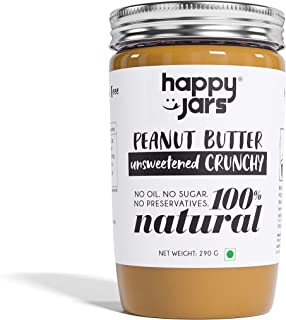 Happy Jars Unsweetened Crunchy Peanut Butter (290g), 10g Protein, 100% Pure Peanuts, Natural