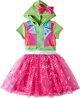 Girls JoJo Siwa Coplay Tulle Tutu Dress Hooded Shirt Top with Bow, Medium 7-8