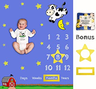 Baby Monthly Milestone Blanket | Soft Large Backdrop | Bonus Star & Box Frame | Best Baby Shower Gift for New Mom | Newborn Photo Memory | Cow Jumped Over The Moon | Boy Girl | Barn Days Weeks Years