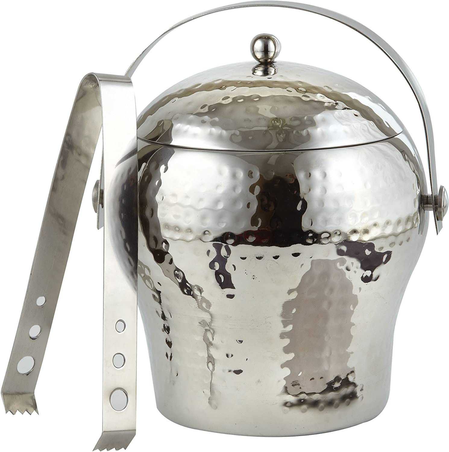 Elegance Hammered Stainless Spring new work Steel 1.5 gift Wall Double Ice Bucket Qt