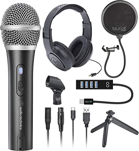 wholesale Audio-Technica outlet sale ATR2100X-USB Cardioid Dynamic Microphone (ATR Series) for Podcasting, Voiceover, Studio high quality Recording Bundle with Samson SR350 Stereo Headphones, Blucoil Pop Filter, and USB-A Mini Hub sale