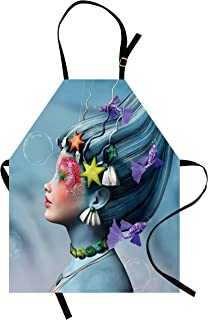 Ambesonne Mermaid Apron, Woman with Underwater Themed Make up Hairstyle Starfishes Seashells Fishes Bubbles, Unisex Kitchen Bib with Adjustable Neck for Cooking Gardening, Adult Size, Blue Purple