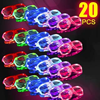 HDHF Light Up Glasses,Neon Party Supplies 20 Pack LED Glasses,6 Color LED Sunglasses Shutter Shades Light Up Plastic Shutter Shades Glow in The Dark Party Favors