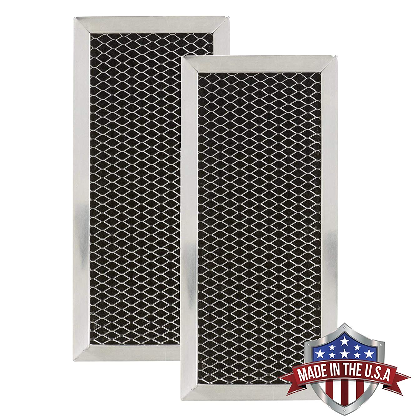 GE JX81H, WB02X10956, WB02X11544, WB2X10956 Microwave Recirculating Charcoal Filter Compatible with GE, LG 5230W1A011A, 5230W1A011C (Made in USA) (2-Pack)
