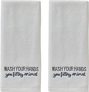 SKL HOME Wash Hand Towel (2-Pack), White