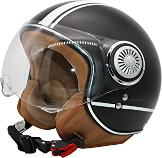 MONACO Jet-Helm mit Visier, Retro Pilot-Helm für Brillen-Träger, Roller-Helm für Frauen und Herren im Vintage-Look, Motorrad-Helm, Qualität nach ECE-Norm schwarzmatt M