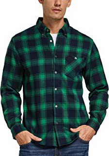 BALEAF Men's Flannel Shirts Button Down Long Sleeve Buffalo Plaid Shirt Fleece Regular-Fit with Pocket