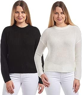 Knit Minded Women's 2-Pack Shaker Stitch Jr Crop Boxy Long Sleeve Sweater