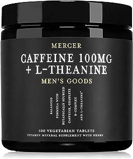Mercer Men's Goods: Caffeine 100mg + L-Theanine Caffeine Pills, Natural Energy and Focus Supplement for Men