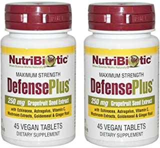 NutriBiotic DefensePlus 250 mg (Pack of 2) with Grapefruit Seed Extract and Vitamin C, 45 Tablets per Bottle