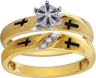 طقم خواتم الخطوبة والزفاف من الذهب الأصفر والأبيض عيار 10 قيراط للرجال والنساء
