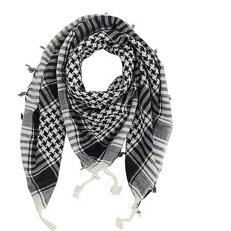 Freak Scene Kefiah - tessitura semplice bianco - nero - 100x100 cm - Shemagh - Sciarpa Arafat Foulard kefiah palestinese 100% cotone