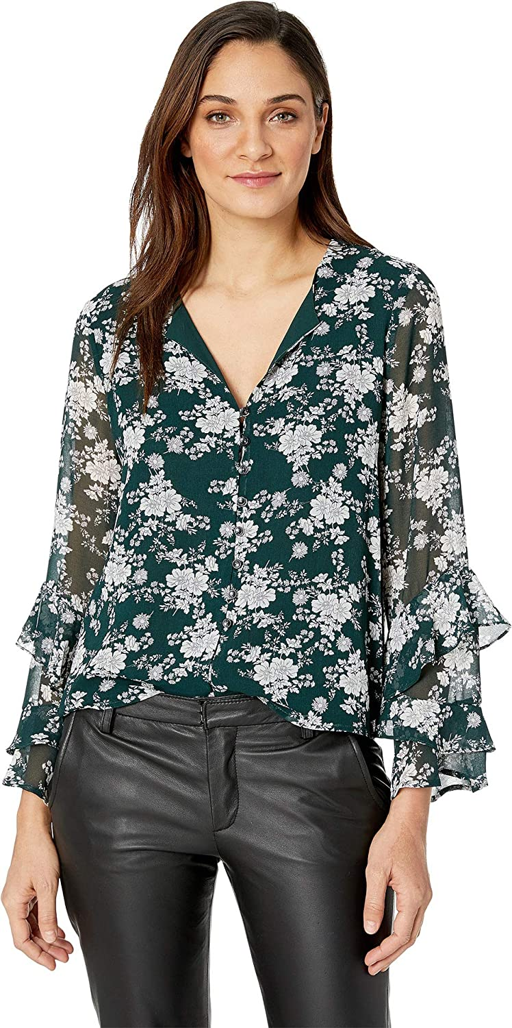 1.STATE Womens Long Sleeve Ruffle Sleeve Forest Delicate Blouse