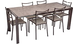 Tavolo Moderno allungabile in Legno e Metallo da Cucina, Sala Pranzo e Tavernetta, Dimensioni: 135/185 X 80 X 75 Cm (Bronzo)