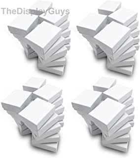 """The Display Guys – Cardboard Jewelry Boxes with Cotton – 100 Pack – White Swirl – #11 (2 1/8"""" x 1 6/8"""" x 3/4"""")"""
