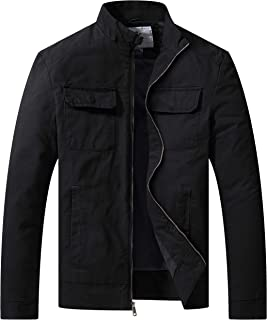 WenVen Men's Cotton Canvas Lightweight Casual Military Jacket