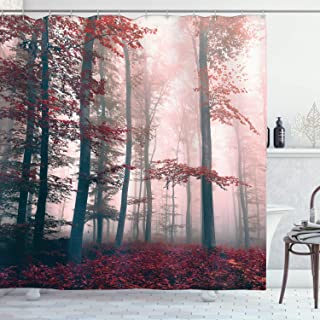 Ambesonne Forest Shower Curtain, Autumn Season Mystic Foggy Fall Nature and Enchanted..