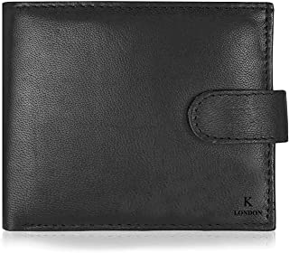 K London Real Leather Mens Wallet Gents Wallet Leather Wallet (Black) (1180_blk)