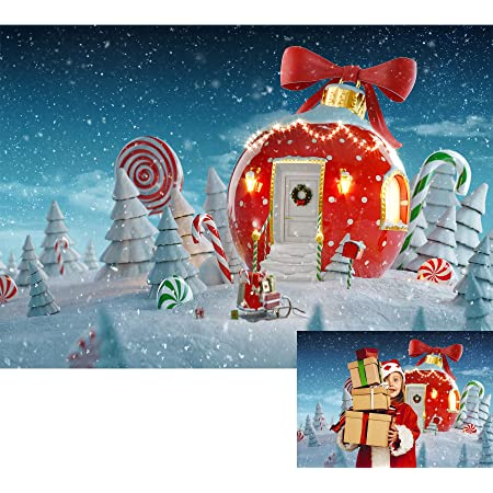 LB Fancy Christmas Backdrops for Photography 9x6ft Winter Snow Cedar Candy Cane Wood Floor Children New Year Kids Artistic Photo Background Photoshoot Props,Fabric Seamless Washable