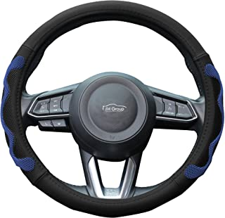 """FH Group Car Steering Wheel Cover Leather w. Silicone Anti-Slip Grip Marks for Ultimate Protection and Comfort, 14-15"""", Universal Design for Cars, Trucks, Vans, and SUVs, Blue/Black"""
