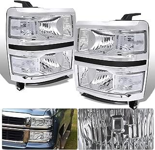 For Silverado 1500 Chrome Housing Clear Lens Corner Reflector Headlight Head Light Lamp Upgrade Replacement Lh Rh Left Right
