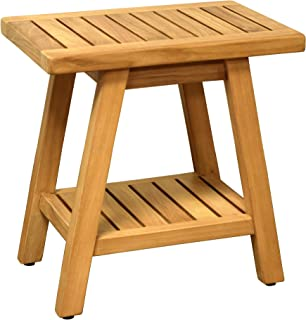 Asta Country Solid Teak Indoor Outdoor Shower/Bath/Spa Stool Bench, Side Table with Bottom Shelf