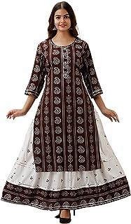 Omask India Women's Printed Rayon Kurta with Skirt Set for Women's & Girls