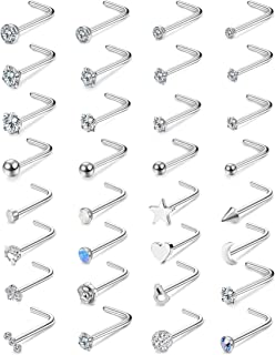 FIBO STEEL 32 Pcs Stainless Steel L Shaped Nose Stud for Women CZ Ball Opal Moon Star Heart Labret Studs Set Body Piercing...