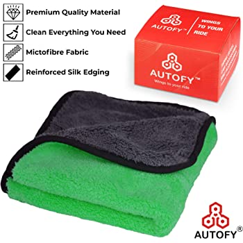Autofy Multipurpose Microfiber Cleaning Towel Cloth 800 GSM Highly Absorbent Dust Towels For All Vehicles Bikes Cars Glass Kitchens (30cm x 30cm Multicolour)