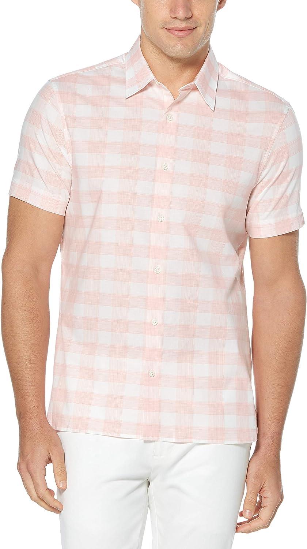 Perry Ellis Men's Standard Short Sleeve Heathered Plaid Stretch Shirt