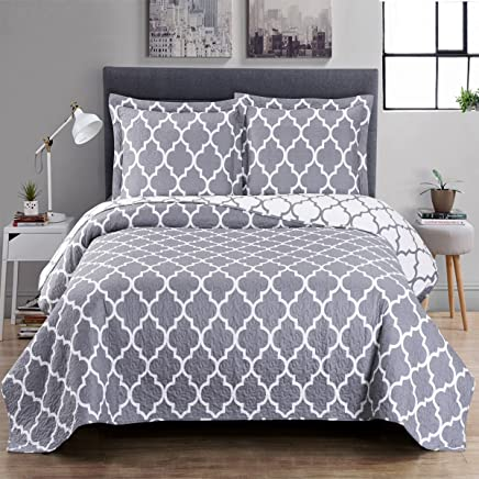 Gray and White Meridian Twin / Twin-Extra-Long Coverlet 2pc set,  Oversized Luxury Microfiber Printed Quilt by Royal Hotel