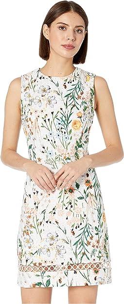Floral Print Cotton Sheath Dress with Trim Detail