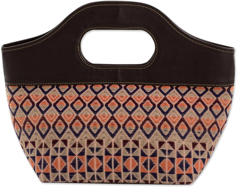NOVICA Multicolor Leather Hand Woven Handle Handbag, Geometric Imagination'